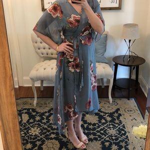 Dresses & Skirts - Blue Floral Wrap Dress